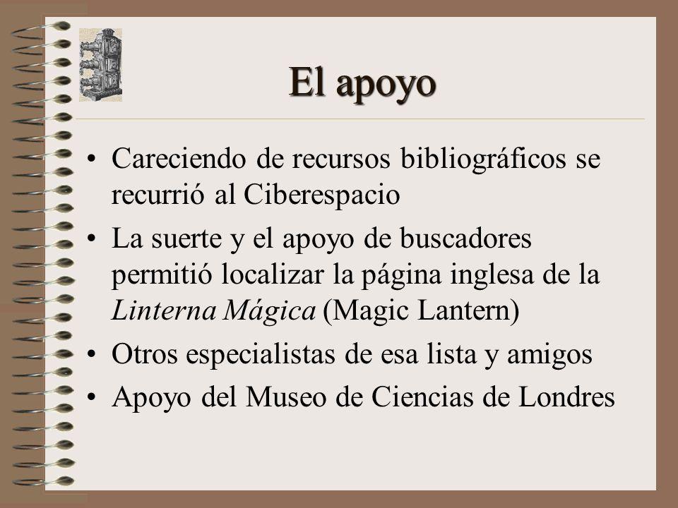 El apoyo Careciendo de recursos bibliográficos se recurrió al Ciberespacio La suerte y el apoyo de buscadores permitió localizar la página inglesa de la Linterna Mágica (Magic Lantern) Otros especialistas de esa lista y amigos Apoyo del Museo de Ciencias de Londres