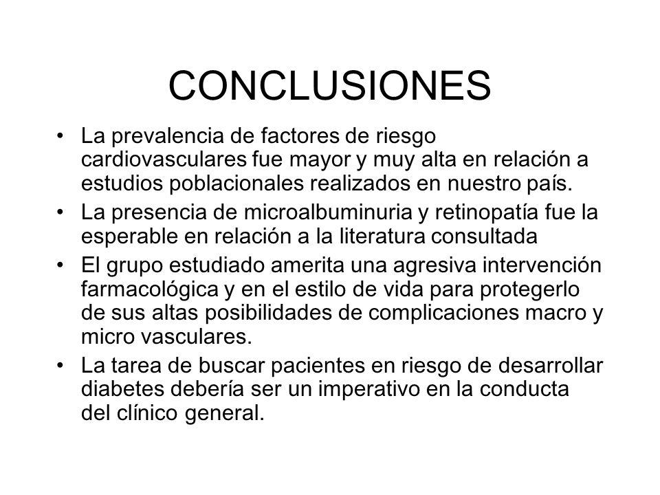 CONCLUSIONES La prevalencia de factores de riesgo cardiovasculares fue mayor y muy alta en relación a estudios poblacionales realizados en nuestro paí