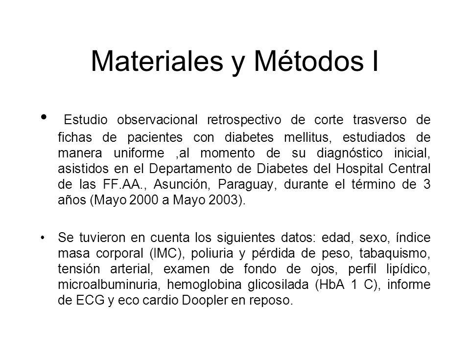 Materiales y Métodos I Estudio observacional retrospectivo de corte trasverso de fichas de pacientes con diabetes mellitus, estudiados de manera unifo