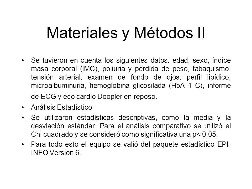 Materiales y Métodos II Se tuvieron en cuenta los siguientes datos: edad, sexo, índice masa corporal (IMC), poliuria y pérdida de peso, tabaquismo, te