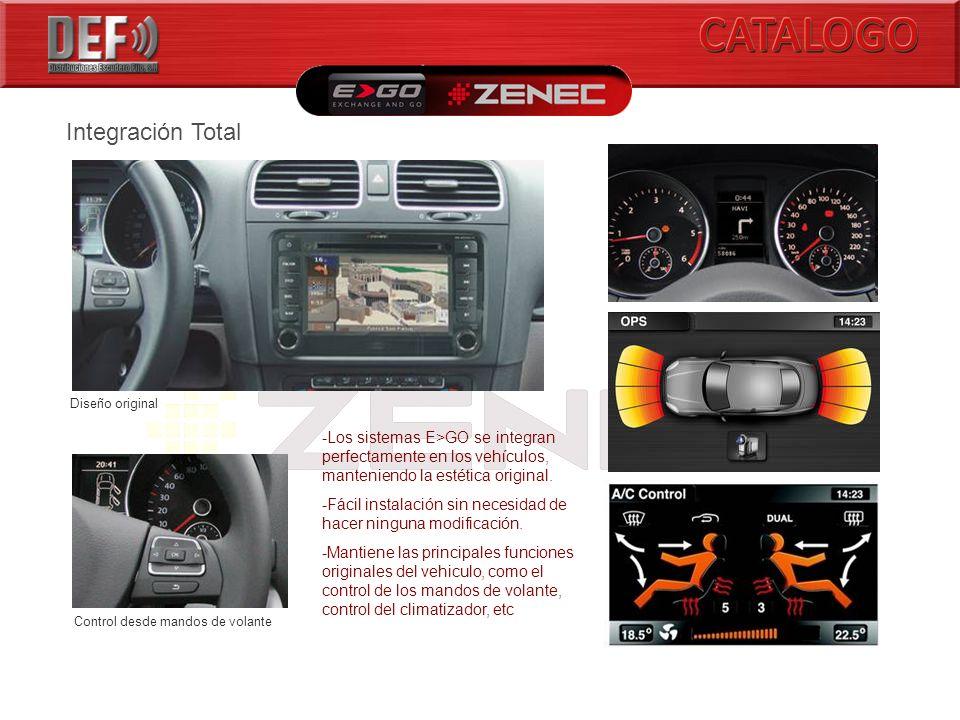 Integración Total Diseño original Control desde mandos de volante -Los sistemas E>GO se integran perfectamente en los vehículos, manteniendo la estética original.
