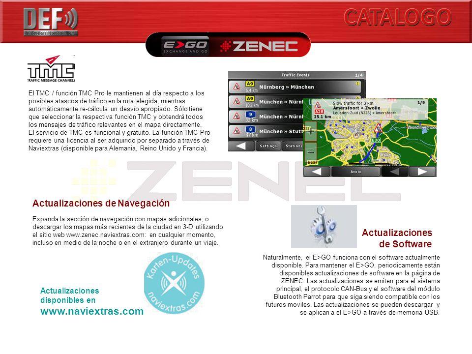 Actualizaciones disponibles en www.naviextras.com El TMC / función TMC Pro le mantienen al día respecto a los posibles atascos de tráfico en la ruta elegida, mientras automáticamente re-cálcula un desvío apropiado.