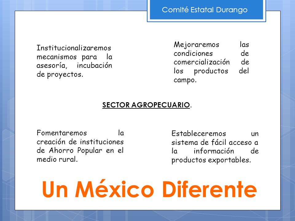 Un México Diferente Comité Estatal Durango Institucionalizaremos mecanismos para la asesoría, incubación de proyectos. SECTOR AGROPECUARIO. Mejoraremo