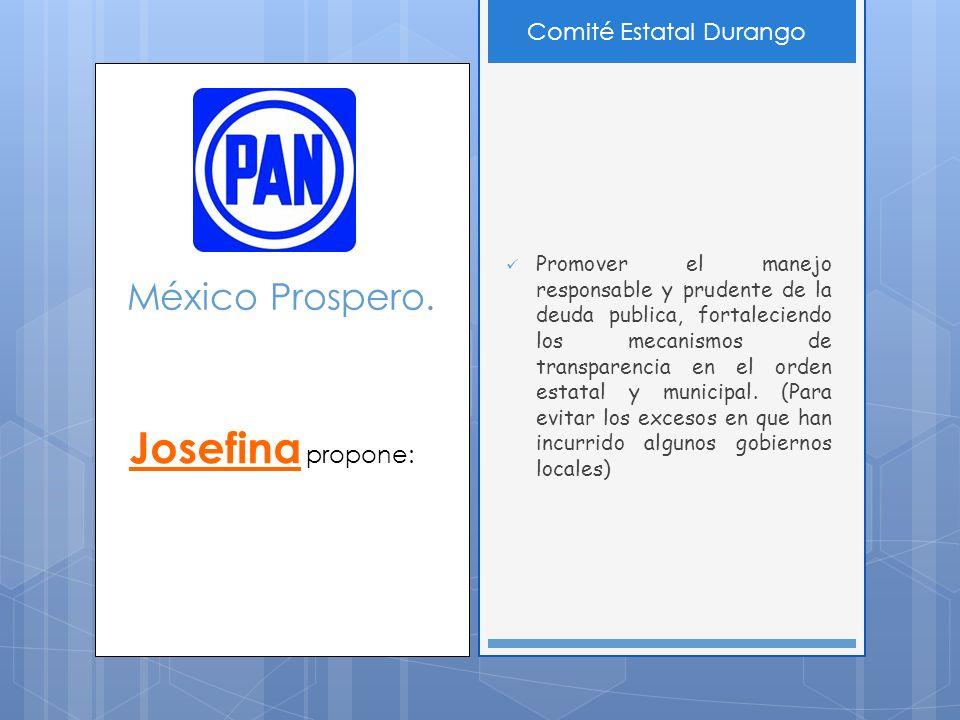 México Prospero. Promover el manejo responsable y prudente de la deuda publica, fortaleciendo los mecanismos de transparencia en el orden estatal y mu