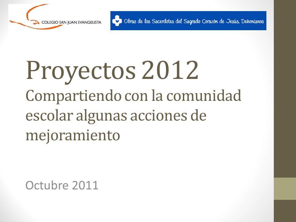 Proyectos 2012 Compartiendo con la comunidad escolar algunas acciones de mejoramiento Octubre 2011
