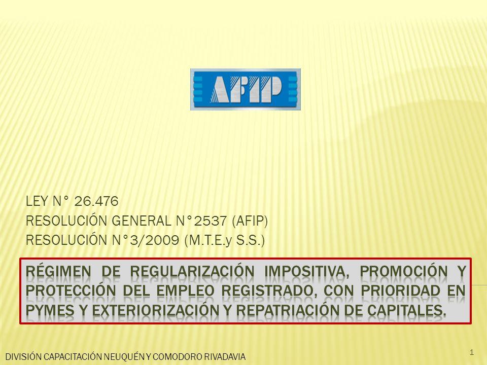 LEY N° 26.476 RESOLUCIÓN GENERAL N°2537 (AFIP) RESOLUCIÓN N°3/2009 (M.T.E.y S.S.) DIVISIÓN CAPACITACIÓN NEUQUÉN Y COMODORO RIVADAVIA 1