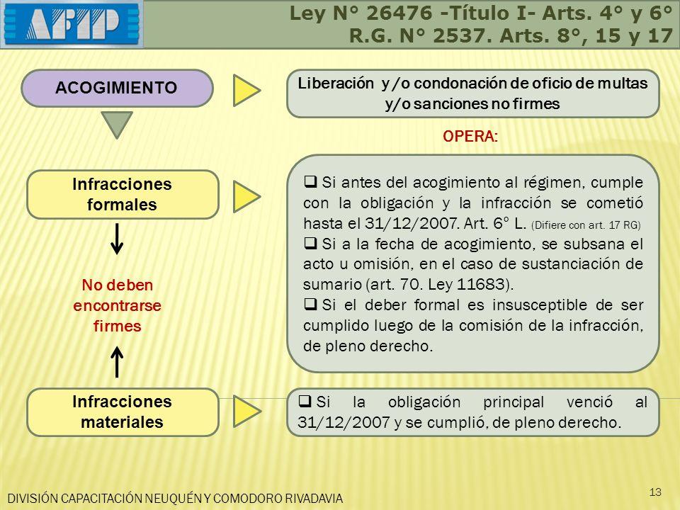 DIVISIÓN CAPACITACIÓN NEUQUÉN Y COMODORO RIVADAVIA Ley N° 26476 -Título I- Arts. 4° y 6° R.G. N° 2537. Arts. 8°, 15 y 17 13 ACOGIMIENTO Infracciones f