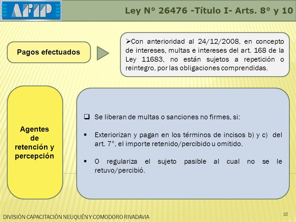 DIVISIÓN CAPACITACIÓN NEUQUÉN Y COMODORO RIVADAVIA Ley N° 26476 -Título I- Arts. 8° y 10 16 Pagos efectuados Con anterioridad al 24/12/2008, en concep