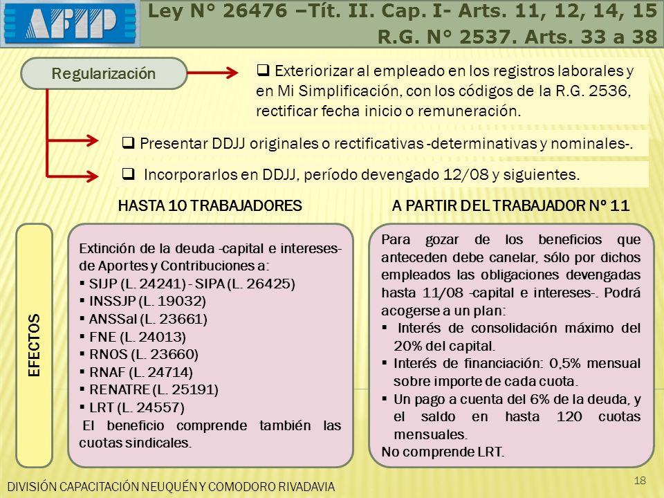 DIVISIÓN CAPACITACIÓN NEUQUÉN Y COMODORO RIVADAVIA 18 Ley N° 26476 –Tít. II. Cap. I- Arts. 11, 12, 14, 15 R.G. N° 2537. Arts. 33 a 38 Regularización E