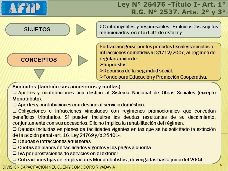 DIVISIÓN CAPACITACIÓN NEUQUÉN Y COMODORO RIVADAVIA 4 SUJETOS Contribuyentes y responsables. Excluidos los sujetos mencionados en el art. 41 de esta le