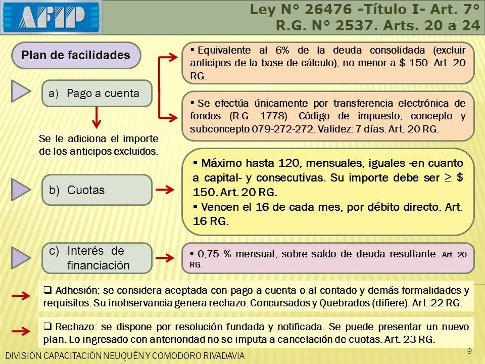 DIVISIÓN CAPACITACIÓN NEUQUÉN Y COMODORO RIVADAVIA Ley N° 26476 -Título I- Art. 7° R.G. N° 2537. Arts. 20 a 24 9 Plan de facilidades a)Pago a cuenta b