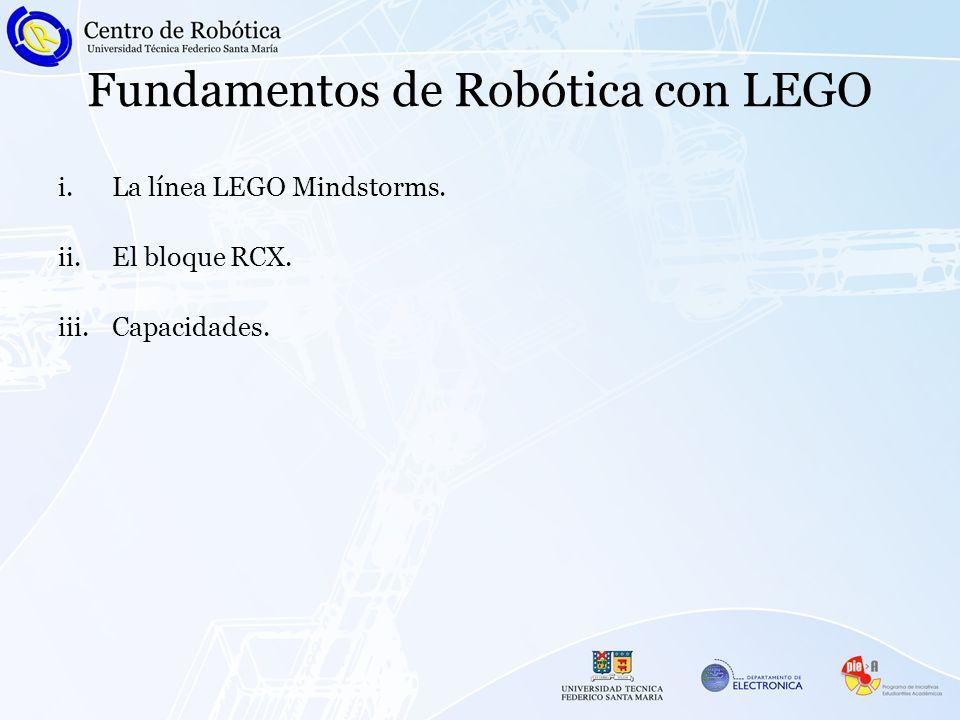 Fundamentos de Robótica con LEGO i.La línea LEGO Mindstorms. ii.El bloque RCX. iii.Capacidades.