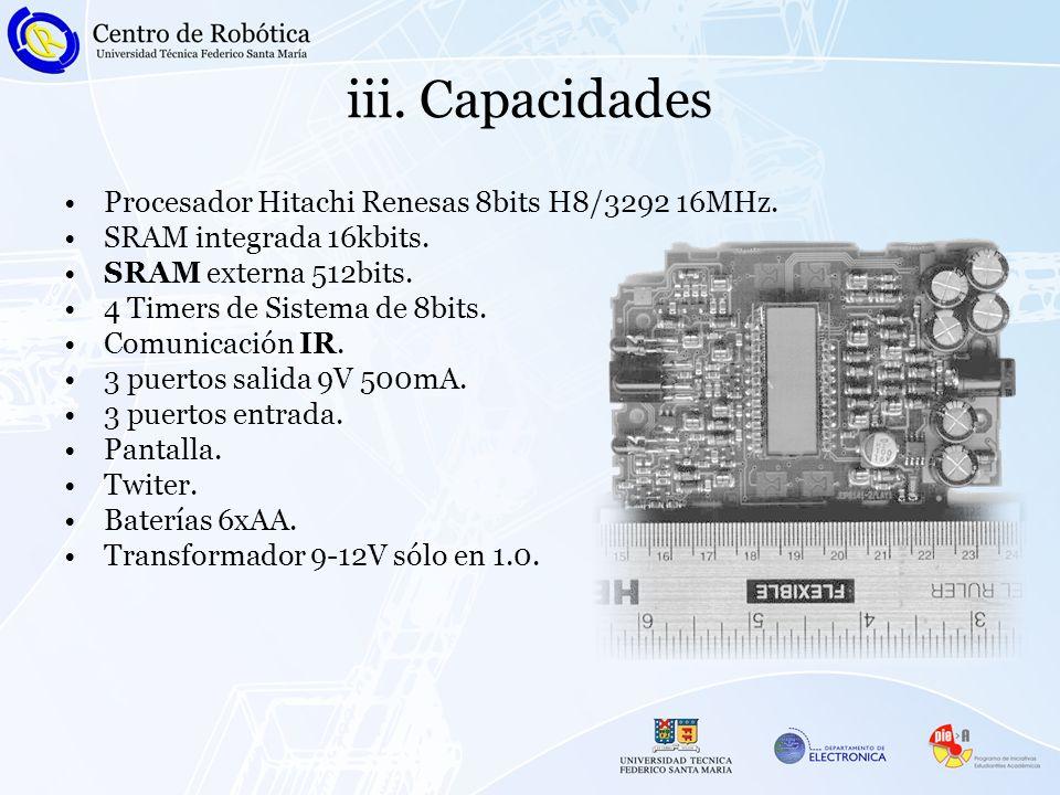 iii.Capacidades Procesador Hitachi Renesas 8bits H8/3292 16MHz.