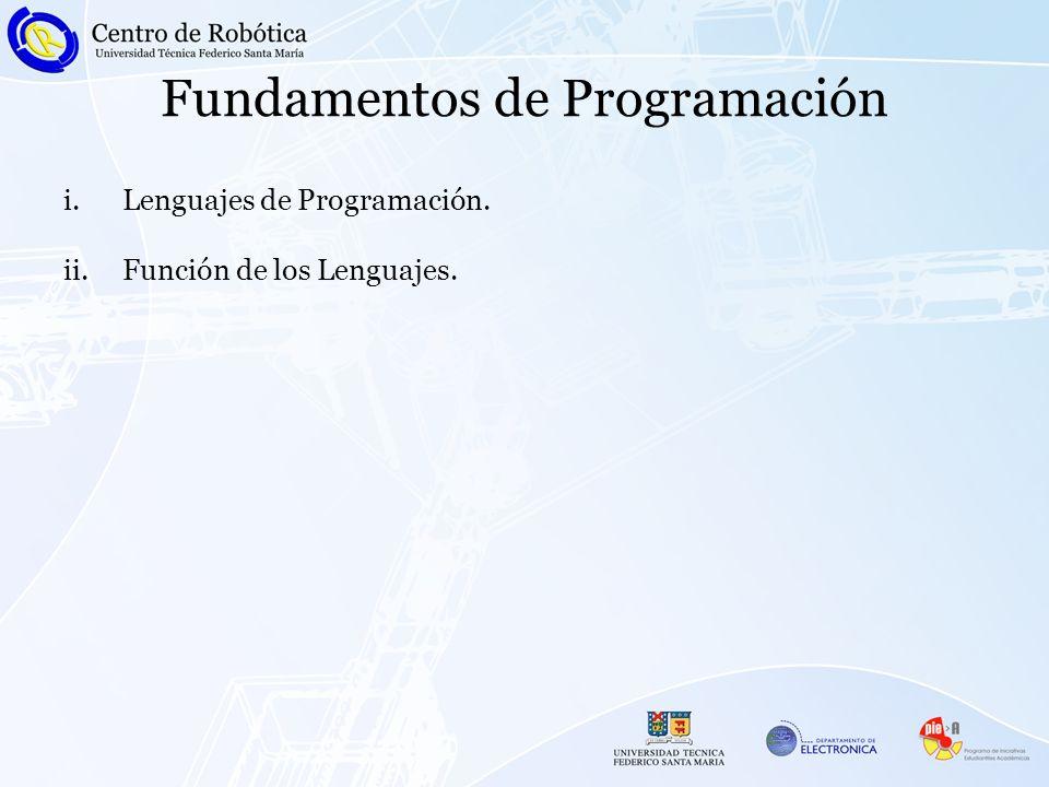 Fundamentos de Programación i.Lenguajes de Programación. ii.Función de los Lenguajes.