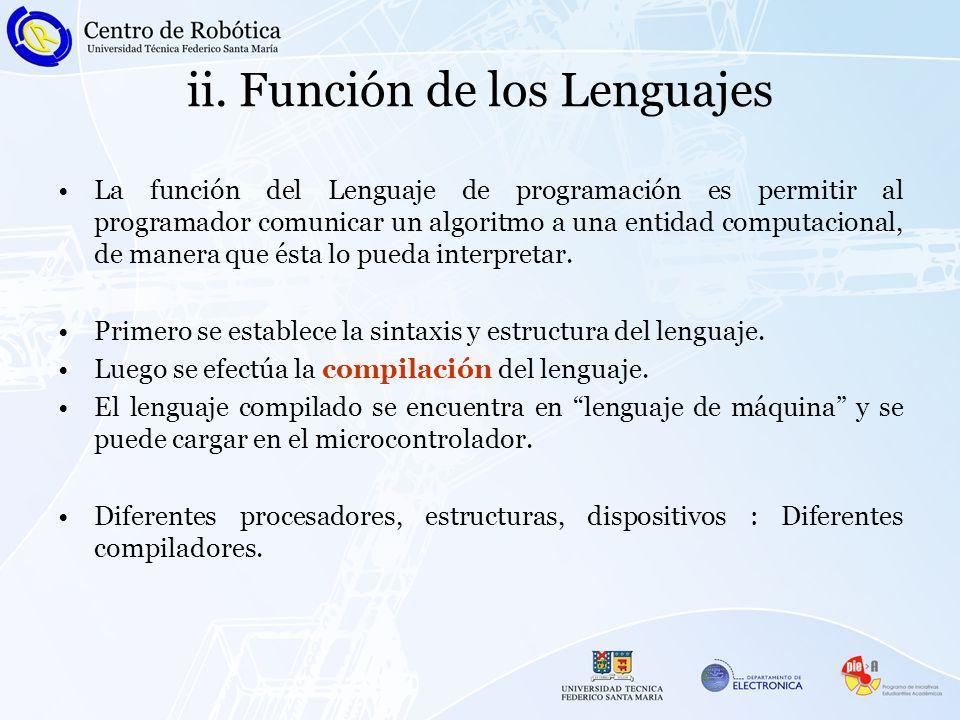 ii. Función de los Lenguajes La función del Lenguaje de programación es permitir al programador comunicar un algoritmo a una entidad computacional, de