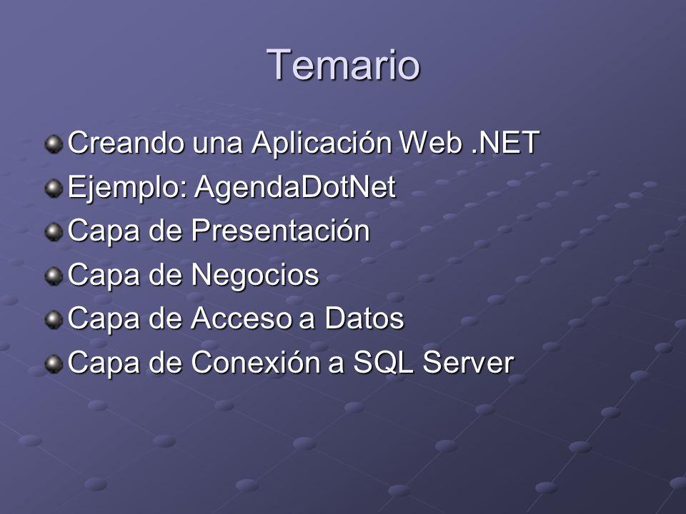 Creando una Aplicación Web.NET Crear una Aplicación Web Configurar una Aplicación Web Acceder a datos usando una Aplicación Web