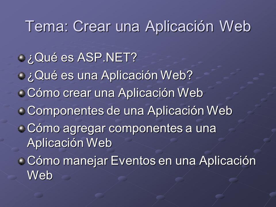 Ejemplo: AgendaDotNet Sevidor Web: Internet Information Server (IIS) Base de Datos: SQL Server 2000 Aplicación Web ASP.NET Lenguaje utilizado: C#