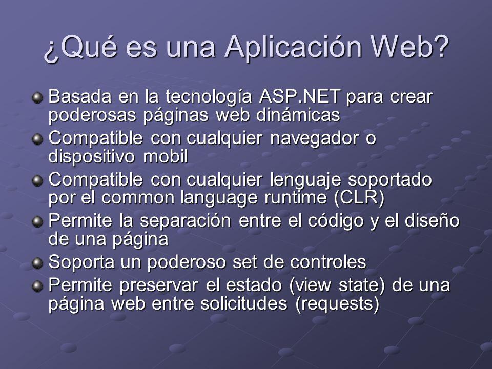 Capa de Presentación Tipo de Proyecto: ASP.NET Web Application Comunicada con: LogicaNegocio Un form ASP.NET está formado por dos archivos:.ASPX (HTML).ASPX (HTML) Los más comunes.cs o.vb (CodeBehind) Los más comunes.cs o.vb (CodeBehind)