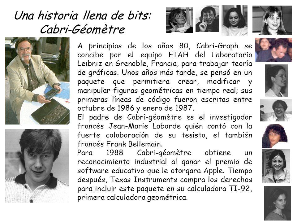 Una historia llena de bits: Cabri-Géomètre A principios de los años 80, Cabri-Graph se concibe por el equipo EIAH del Laboratorio Leibniz en Grenoble, Francia, para trabajar teoría de gráficas.