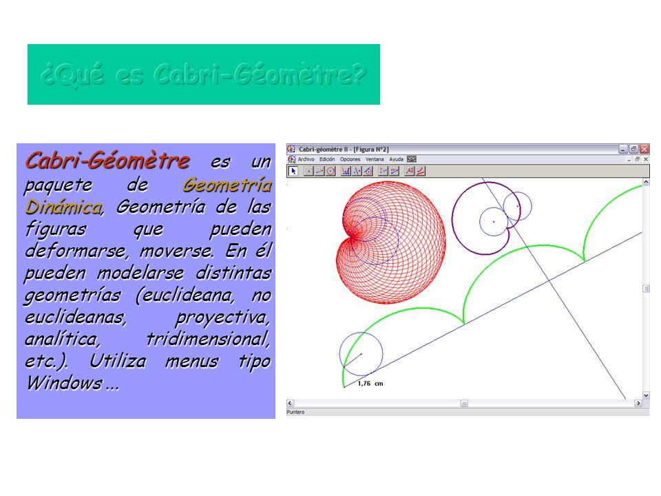 Cabri-Géomètre es un paquete de Geometría Dinámica, Geometría de las figuras que pueden deformarse, moverse.