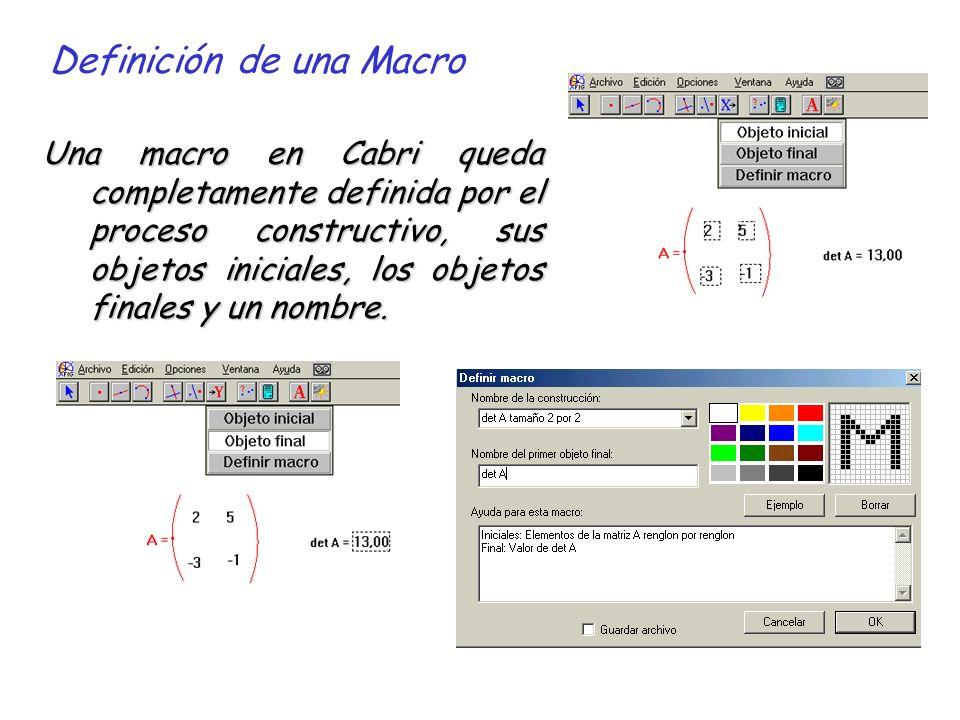 Definición de una Macro Una macro en Cabri queda completamente definida por el proceso constructivo, sus objetos iniciales, los objetos finales y un nombre.
