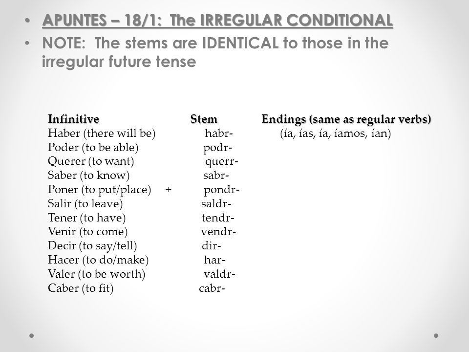 APUNTES – 18/1: The IRREGULAR CONDITIONAL APUNTES – 18/1: The IRREGULAR CONDITIONAL NOTE: The stems are IDENTICAL to those in the irregular future tense Infinitive Stem Endings (same as regular verbs) Haber (there will be) habr- (ía, ías, ía, íamos, ían) Poder (to be able) podr- Querer (to want) querr- Saber (to know) sabr- Poner (to put/place) + pondr- Salir (to leave) saldr- Tener (to have) tendr- Venir (to come) vendr- Decir (to say/tell) dir- Hacer (to do/make) har- Valer (to be worth) valdr- Caber (to fit) cabr-