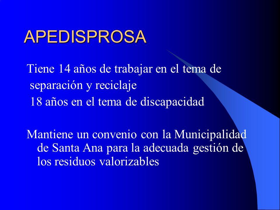 APEDISPROSA Tiene 14 años de trabajar en el tema de separación y reciclaje 18 años en el tema de discapacidad Mantiene un convenio con la Municipalidad de Santa Ana para la adecuada gestión de los residuos valorizables