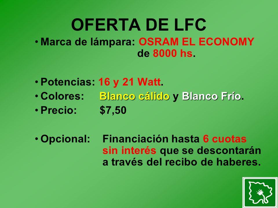 OFERTA DE LFC Marca de lámpara: OSRAM EL ECONOMY de 8000 hs.