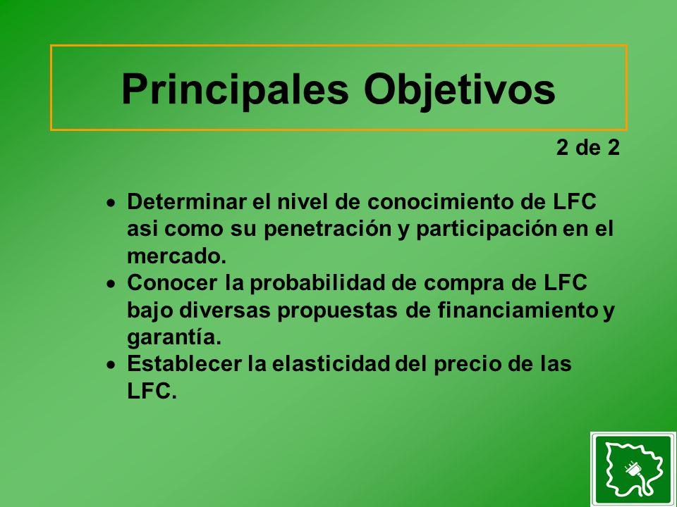 2 de 2 Determinar el nivel de conocimiento de LFC asi como su penetración y participación en el mercado. Conocer la probabilidad de compra de LFC bajo