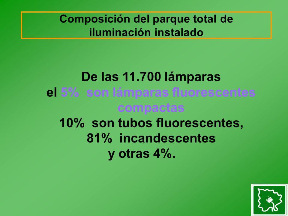 De las 11.700 lámparas el 5% son lámparas fluorescentes compactas 10% son tubos fluorescentes, 81% incandescentes y otras 4%.