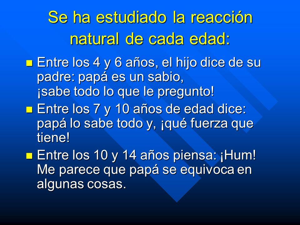 Se ha estudiado la reacción natural de cada edad: Se ha estudiado la reacción natural de cada edad: Entre los 4 y 6 años, el hijo dice de su padre: papá es un sabio, ¡sabe todo lo que le pregunto.