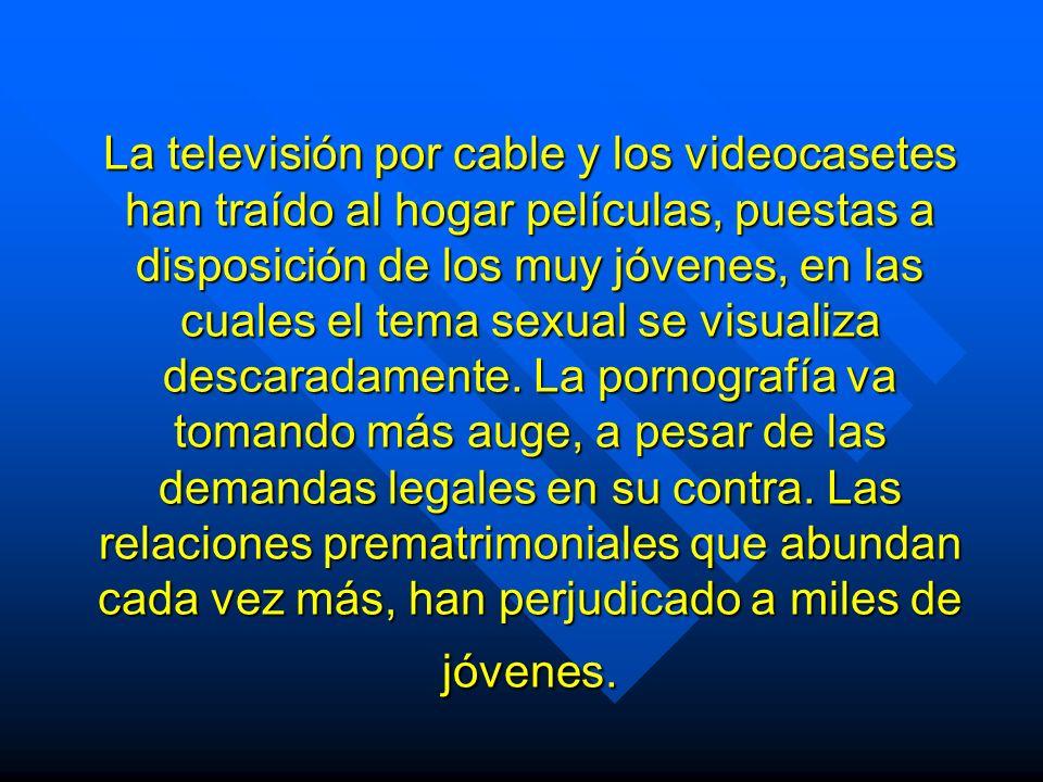 La televisión por cable y los videocasetes han traído al hogar películas, puestas a disposición de los muy jóvenes, en las cuales el tema sexual se visualiza descaradamente.
