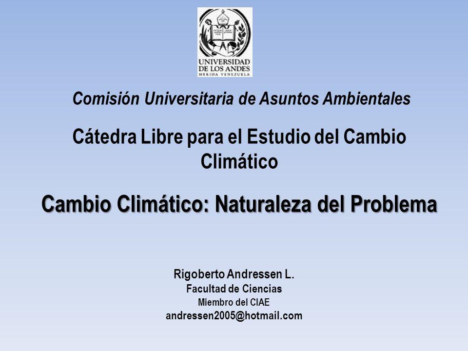 Comisión Universitaria de Asuntos Ambientales Cátedra Libre para el Estudio del Cambio Climático Cambio Climático: Naturaleza del Problema Rigoberto A
