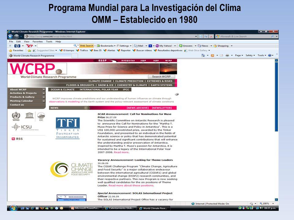 Programa Mundial para La Investigación del Clima OMM – Establecido en 1980