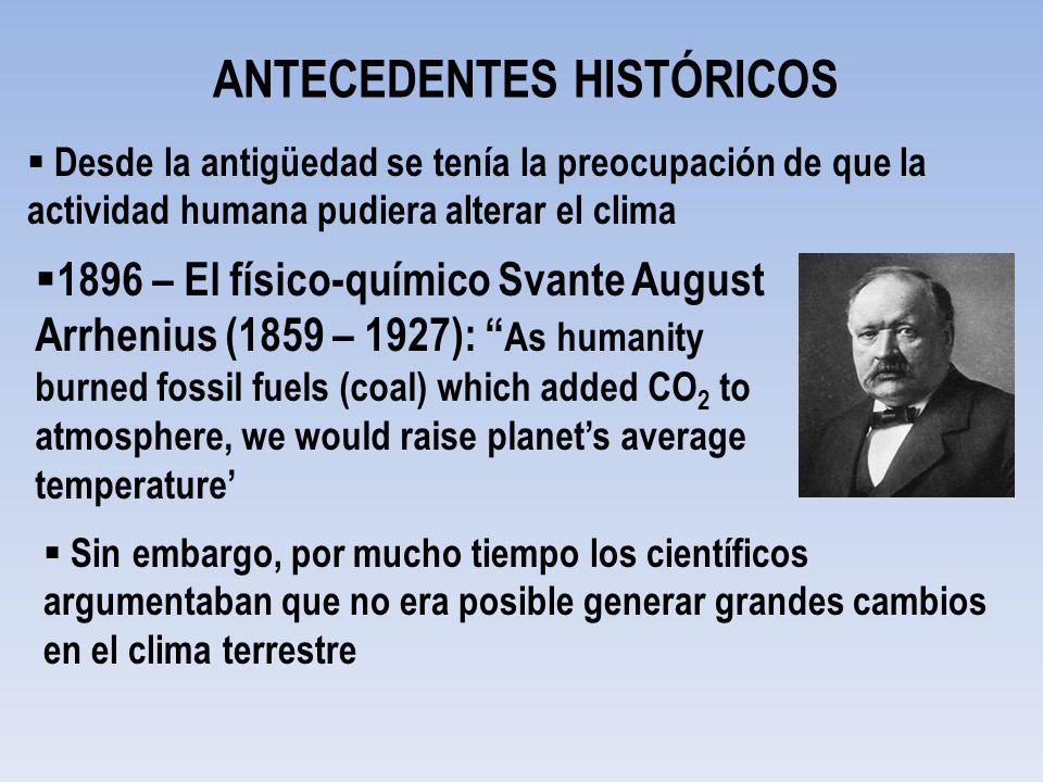 ANTECEDENTES HISTÓRICOS Desde la antigüedad se tenía la preocupación de que la actividad humana pudiera alterar el clima 1896 – El físico-químico Svan