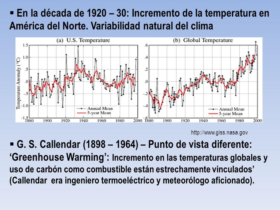 http://www.giss.nasa.gov En la década de 1920 – 30: Incremento de la temperatura en América del Norte. Variabilidad natural del clima G. S. Callendar