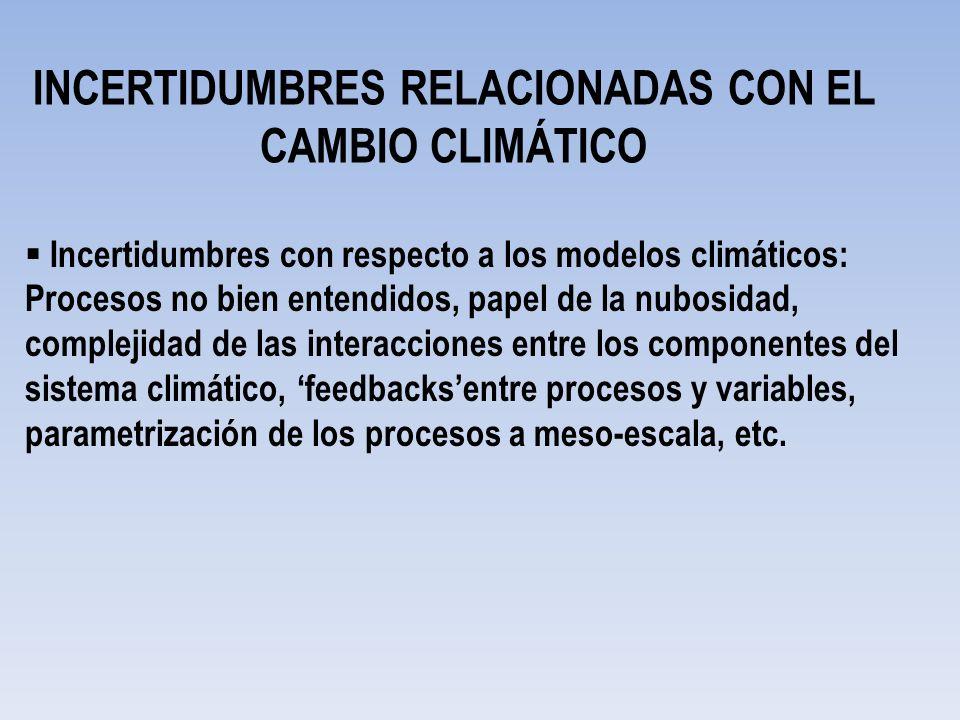 INCERTIDUMBRES RELACIONADAS CON EL CAMBIO CLIMÁTICO Incertidumbres con respecto a los modelos climáticos: Procesos no bien entendidos, papel de la nub