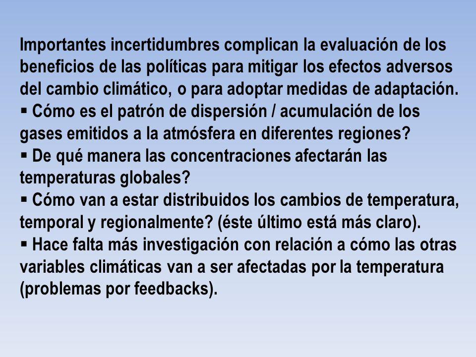 Importantes incertidumbres complican la evaluación de los beneficios de las políticas para mitigar los efectos adversos del cambio climático, o para a