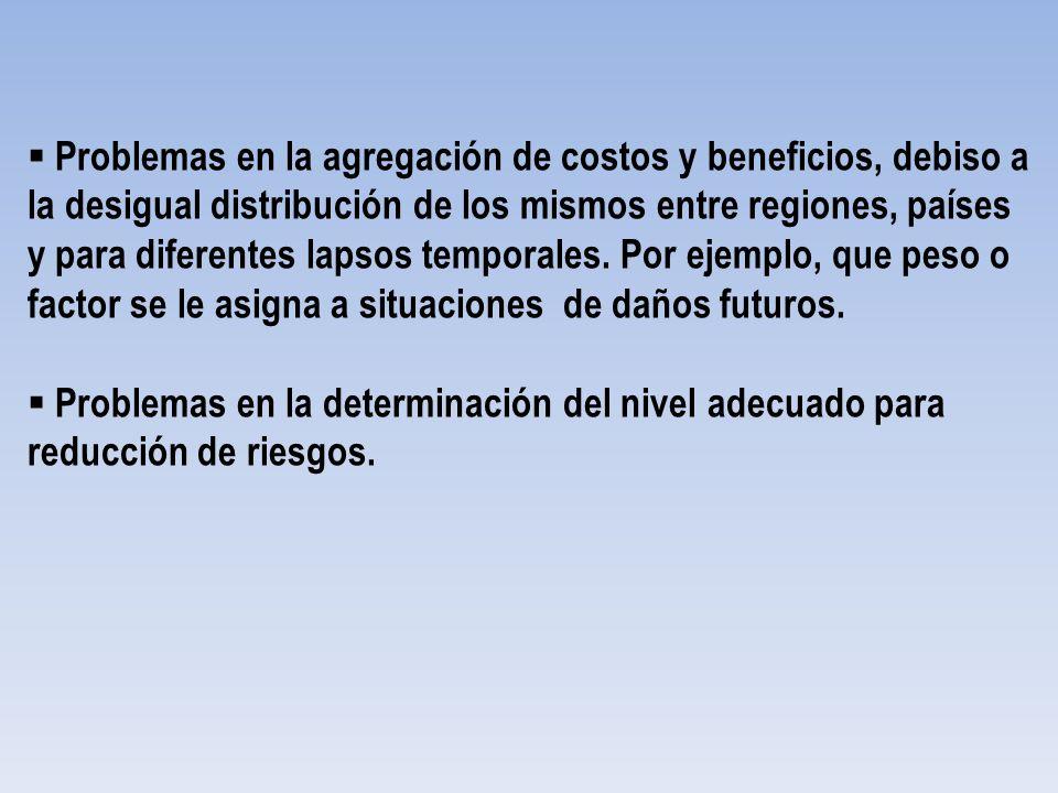 Problemas en la agregación de costos y beneficios, debiso a la desigual distribución de los mismos entre regiones, países y para diferentes lapsos tem