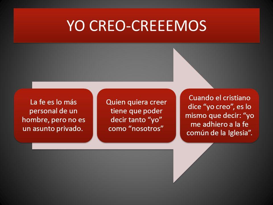 YO CREO-CREEEMOS La fe es lo más personal de un hombre, pero no es un asunto privado. Quien quiera creer tiene que poder decir tanto yo como nosotros