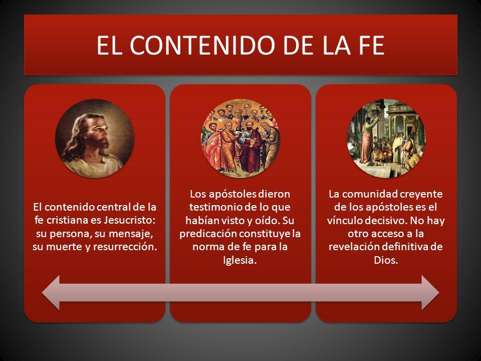 EL CONTENIDO DE LA FE El contenido central de la fe cristiana es Jesucristo: su persona, su mensaje, su muerte y resurrección. Los apóstoles dieron te