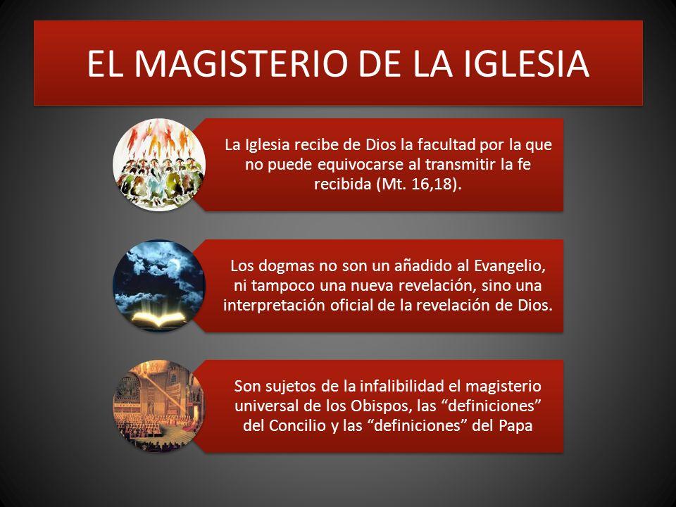 EL MAGISTERIO DE LA IGLESIA La Iglesia recibe de Dios la facultad por la que no puede equivocarse al transmitir la fe recibida (Mt. 16,18). Los dogmas