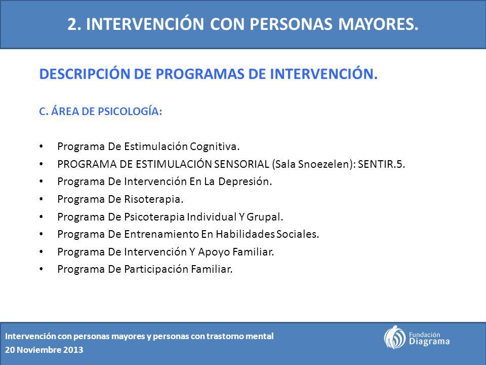 2. INTERVENCIÓN CON PERSONAS MAYORES. DESCRIPCIÓN DE PROGRAMAS DE INTERVENCIÓN. C. ÁREA DE PSICOLOGÍA: Programa De Estimulación Cognitiva. PROGRAMA DE