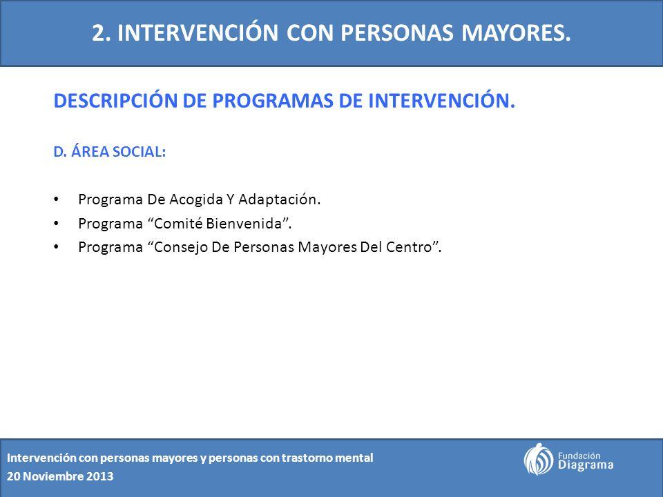 2. INTERVENCIÓN CON PERSONAS MAYORES. DESCRIPCIÓN DE PROGRAMAS DE INTERVENCIÓN. D. ÁREA SOCIAL: Programa De Acogida Y Adaptación. Programa Comité Bien