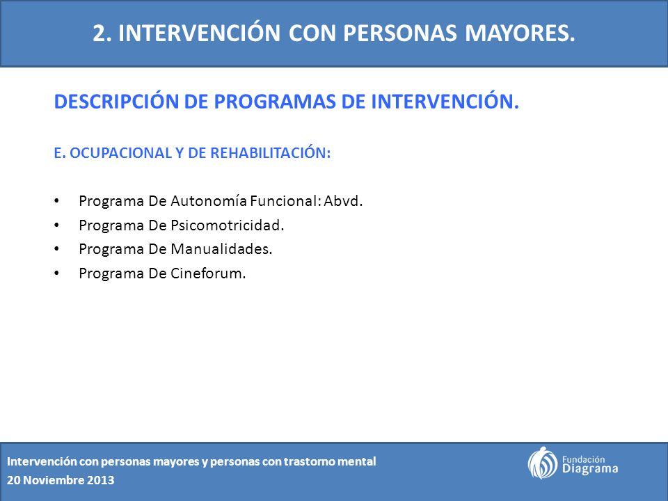 2. INTERVENCIÓN CON PERSONAS MAYORES. DESCRIPCIÓN DE PROGRAMAS DE INTERVENCIÓN. E. OCUPACIONAL Y DE REHABILITACIÓN: Programa De Autonomía Funcional: A