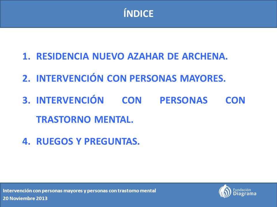 ÍNDICE 1.RESIDENCIA NUEVO AZAHAR DE ARCHENA. 2.INTERVENCIÓN CON PERSONAS MAYORES. 3.INTERVENCIÓN CON PERSONAS CON TRASTORNO MENTAL. 4.RUEGOS Y PREGUNT