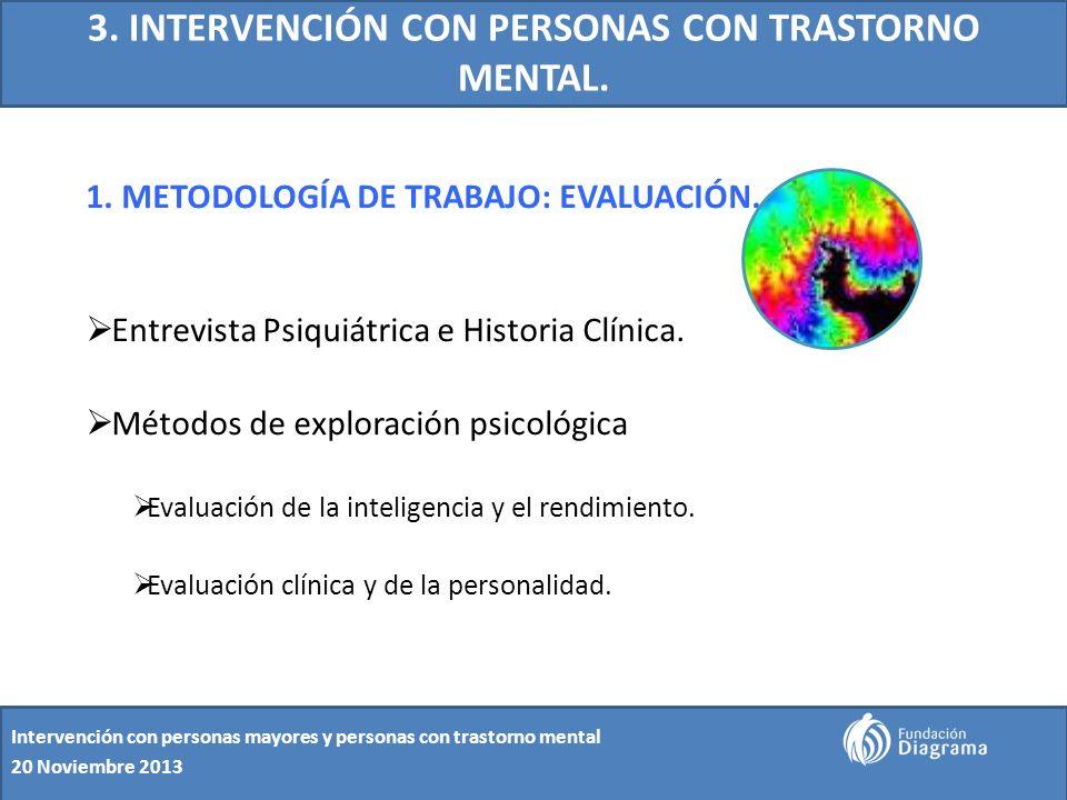 3. INTERVENCIÓN CON PERSONAS CON TRASTORNO MENTAL. 1. METODOLOGÍA DE TRABAJO: EVALUACIÓN. Entrevista Psiquiátrica e Historia Clínica. Métodos de explo