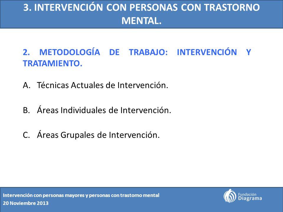 3. INTERVENCIÓN CON PERSONAS CON TRASTORNO MENTAL. 2. METODOLOGÍA DE TRABAJO: INTERVENCIÓN Y TRATAMIENTO. A.Técnicas Actuales de Intervención. B.Áreas