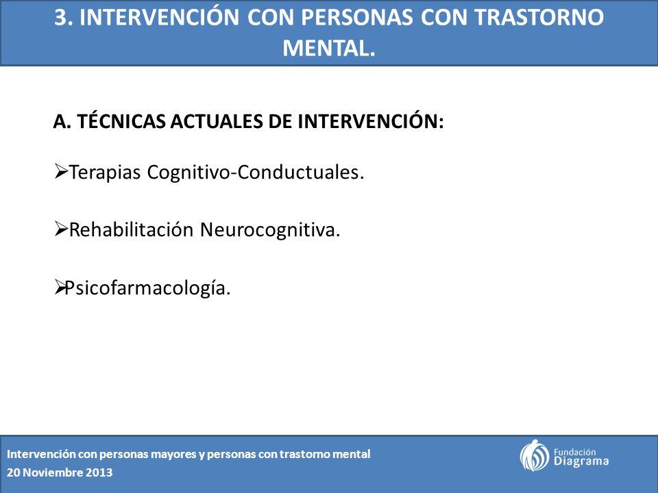 3. INTERVENCIÓN CON PERSONAS CON TRASTORNO MENTAL. A. TÉCNICAS ACTUALES DE INTERVENCIÓN: Terapias Cognitivo-Conductuales. Rehabilitación Neurocognitiv