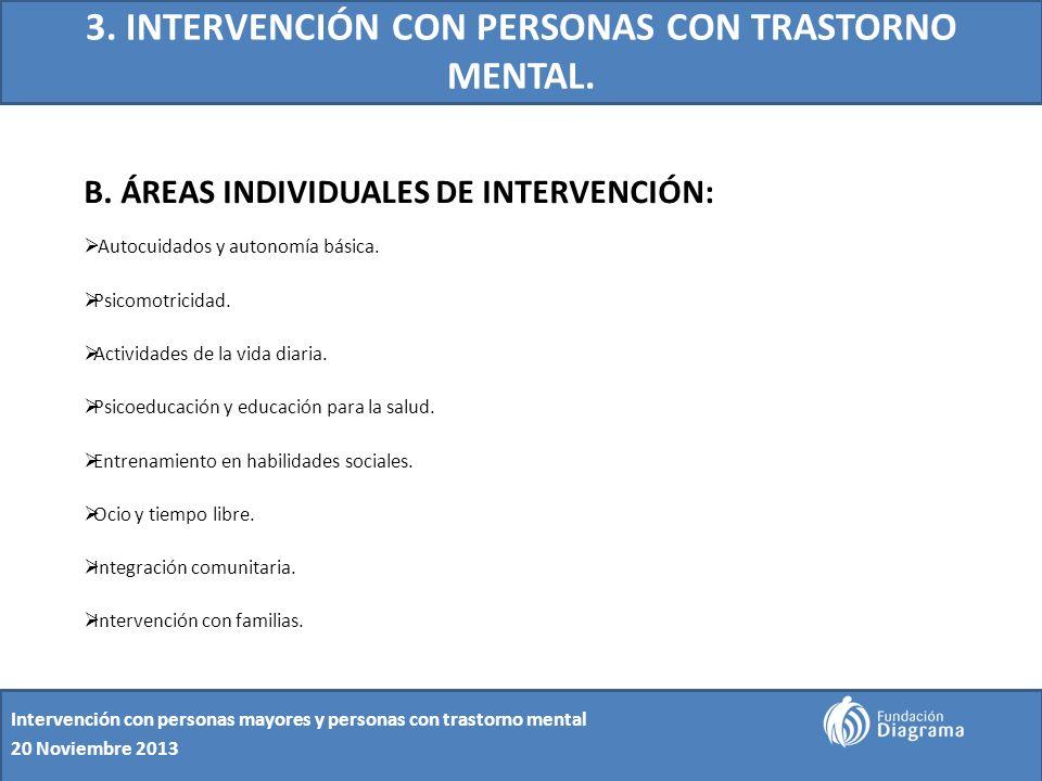 3. INTERVENCIÓN CON PERSONAS CON TRASTORNO MENTAL. B. ÁREAS INDIVIDUALES DE INTERVENCIÓN: Autocuidados y autonomía básica. Psicomotricidad. Actividade